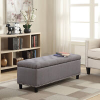 "48"" Tufted Fabric Storage Ottoman Lift Top Shoe Bench Seat Footrest Stool, Gray"