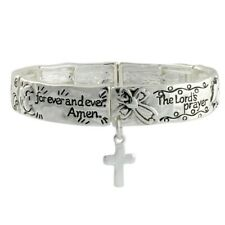 NEW Lord's Prayer Cross Charm Stretch Cuff Bracelet Silver Tone Religious