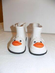MINI MELISSA Girls Rain Boots White Duck Toddler Sz 7 EUC Boutique