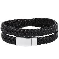Men Handmade Black Braided Leather Bracelet Silver Magnetic Buckle Cuff Bangle