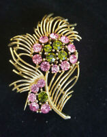 Vintage Signed LISNER Flower BROOCH PIN Rhinestones Retro Pink Gold tone Jewelry