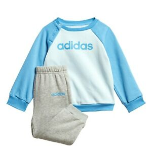 adidas boy blue & grey infant/baby linear tracksuit. 12-18M & 18-24M