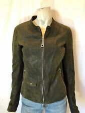 GIMO'S size 44 small brown leather zip-up  jacket small gimos