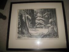 Winter's Shadow Deer in the Pines Litho 1/20 by Earl Gross A.W.S. 1959