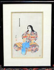 Japanese Woodblock Print Mid Century Oriental Art UCHIDA Kyoto Japan Meditation