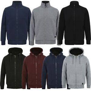 Men's Fleece Borg Lined Jacket Full Zip Casual Hoodie & Funnel Neck Padded Coat
