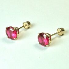 14k solid yellow/gold Lab created 6mm Red Ruby stud screw back  earrings 1.75tcw
