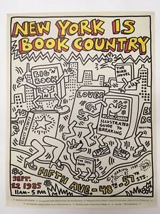 KEITH HARING SIGNED NEW YORK IS BOOK COUNTRY LITHOGRAPH POSTER 1985