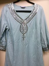 Linen Top Blouse in Sea green Size 16