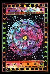 Indian 54X84 Astrology Tapestry Hippies Bohemian Wall Hanging Cotton Home Decor