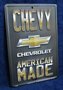 CHEVY AMERICAN MADE - *US MADE* Embossed Metal Tin Sign - Man Cave Garage Bar