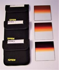 Tiffen 4 x 4 Clear /Skyfire 1, 2, 3 Graduated Glass Filters (LOT OF 3)