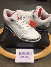 Nike Air Jordan 3 Retro WHITE/Fire Red/Ciment Gris Neuf UK 10 USA 11