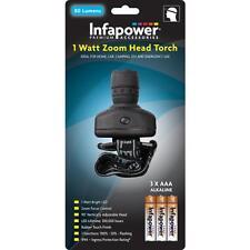 Infapower inf-f035 ip44 90 ° in verticale regolabile 1 WATT TESTA ZOOM Torcia-Nero