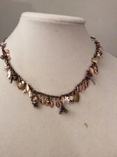 Multi Charm Necklace $52 #111A Betsey Johnson Wanderlust Gold Tones hokey