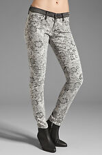 NEW Current Elliott Jeans The Ankle Skinny in Light Grey Lace floral sz 27 $218