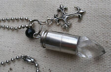 Vampire Charm Necklace w/ real 9mm casing,gothic cross,acrylic crystal-steampunk