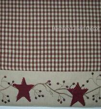 Applies  Stars & Berry Vines Country Primitive Shower Curtain Burgundy Tan Check