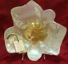 "AKCAM White Luster Floral Decorative Bowl Plate Turkey Iridescent 10 3/4 "" New"