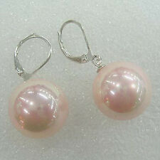 10mm Pink Shell Pearl Beads 18KWGP Leverback Hook Earrings