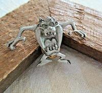 Vintage TAZ Tasmanian Devil WARNER BROS Dated PEWTER Pushback Lapel Trading PIN