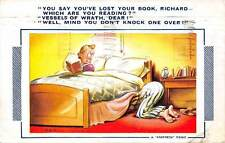 """""""Bamforth"""" Comic Humour """"You say you've lost your book"""" couple in bed 1948"""