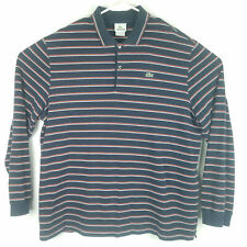 Lacoste Mens 8 XL Polo Rugby Shirt L/S Striped Blue Cotton