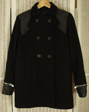 MAJE Women's Black Peacoat EU36 S Virgin Wool-Cashmere Pea Coat Leather Trim