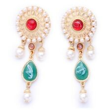 VICTORIAN BYZANTINE PEARL RED GREEN Crystal Rhinestone Gold Beaded Drop Earrings