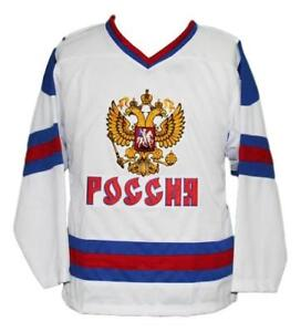 Any Name Number Size Team Russia Retro Custom Hockey Jersey White Ovechkin