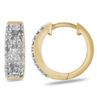 .50ctw Round And Baguette Diamonds 14k Yellow Gold Over Sterling Silver Earrings