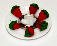 Dollhouse Miniatures Strawberries and a Cream Dip on a White Plate, Food