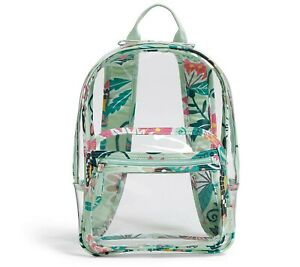 "New Vera Bradley Mint Flower Mint Green Quilted Clear Backpack 12""W 16.5"" H"