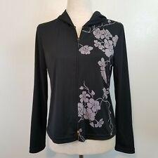 Jade B S Lightweight Short Jacket Top Black W/floral Print Hooded Full Front Zip