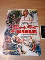 Kinoplakat + 18 AHF : Blonde Fracht für Sansibar ( Hildegard Knef ) -Zustand 0-1