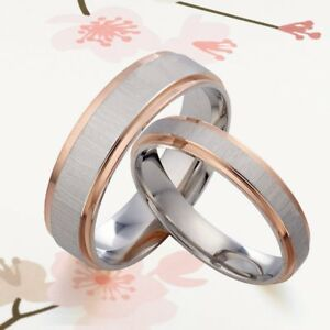 His and Her Two Tone Rose Gold & Silver Wedding Matching Titanium Ring Set