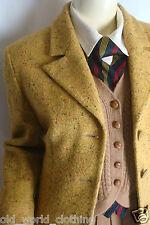 Vintage ROCCOBAROCCO Mustard Yellow Wool Tweed Jacket Blazer Coat UK 12 US 6