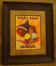 "VINTAGE TEXAS A&M COLLEGE FOOTBALL POSTER  FRAMED ""A&M VS GEORGIA"" OCT. 1953"