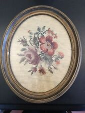 Vintage Needlepoint Petit Point Victorian Flowers Roses Floral Framed Oval