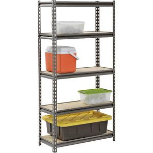 "Shelf Steel Muscle Rack 30""W x 12""D x 60""H 5- Freestanding Shelves, Silver-Vein"