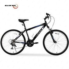 "26"" Mountain Bike Black Blue 18 Speed Bicycle Shimano Hybrid GTM School Sports"