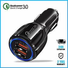 Dual 2x USB Port Quick Charge 3 Car Charger Chargeur Voiture Auto Oplader Black