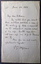 Frederic George Stephens, Artist Critic Pre-Raphaelites, ALS, SIGNED letter 1883