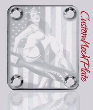 Chrome PU Sharkie Engraved Guitar Neck Plate fits Fender pbass,Telecaster,Strat