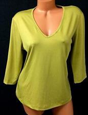 Iskia green 3/4 sleeves v neck spandex stretch women's plus size top 1X