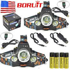 2x BORUiT 30000lm 3xXM-L T6 LED Headlamp Headlight 18650 Battery +Charger Sets