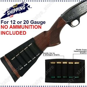 Shotgun 12 Gauge Buttstock Shell Holder Cartridge Rifle Ammo Hunting Elastic 20
