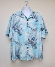 Mens TOMMY BAHAMA Blue Palm Leaf Silk Short Sleeved Shirt - Sz. 2XB