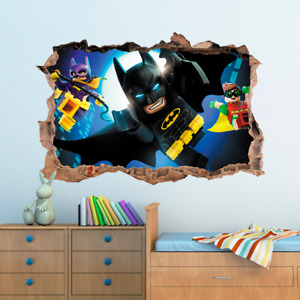 3D LEGO BATMAN Hole In Wall Sticker Art Decal Decor Kids Bedroom Decoration