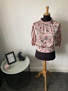Vintage ZARA Rose Floral Print Blouse Top Size M (10-12)